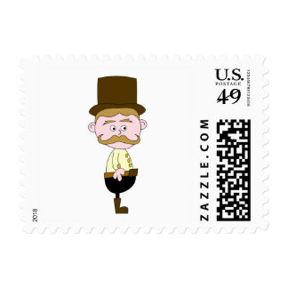 Gentleman with Mustache and Top Hat. Postage Stamps