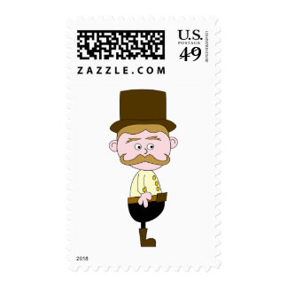 Gentleman with Mustache and Top Hat. Postage Stamp
