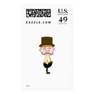 Gentleman with Mustache and Top Hat. Stamp