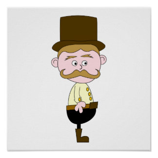 Gentleman with Mustache and Top Hat. Posters
