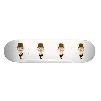 Gentleman with Mustache and Top Hat. Skate Deck
