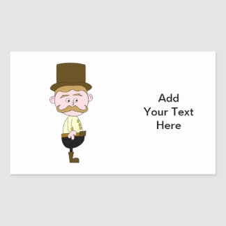 Gentleman with Mustache and Top Hat. Rectangular Sticker