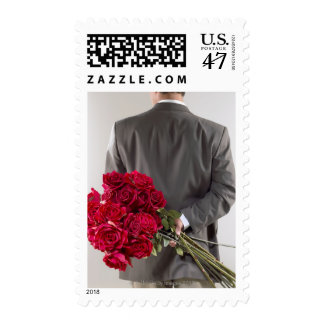 Gentleman with red roses postage