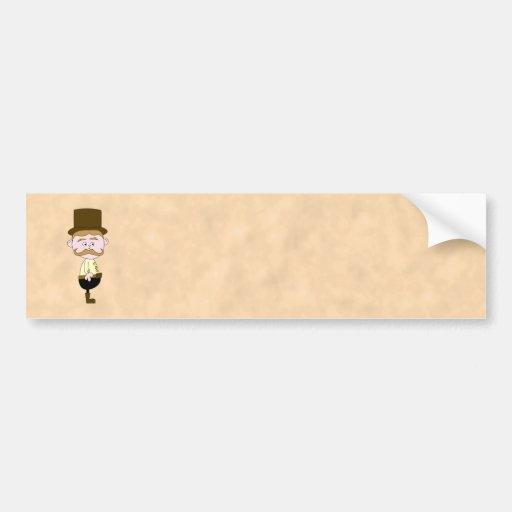 Gentleman with Top Hat and Mustache. Custom Bumper Sticker