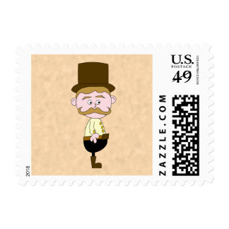 Gentleman with Top Hat and Mustache. Custom Postage Stamps