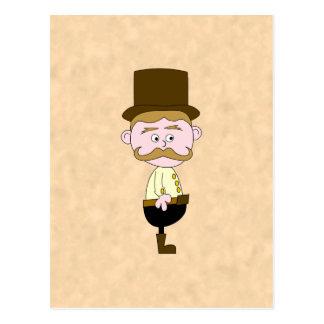 Gentleman with Top Hat and Mustache. Custom Postcard