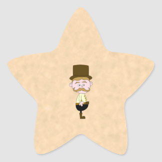 Gentleman with Top Hat and Mustache. Custom Star Sticker