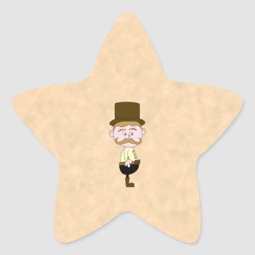 Gentleman with Top Hat and Mustache. Custom Star Sticker