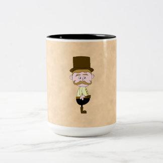 Gentleman with Top Hat and Mustache. Custom Two-Tone Coffee Mug