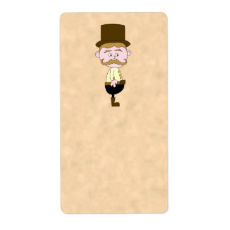 Gentleman with Top Hat and Mustache. Label