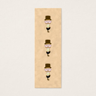 Gentleman with Top Hat and Mustache. Mini Business Card