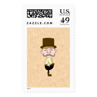 Gentleman with Top Hat and Mustache. Postage Stamp