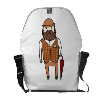 Gentleman with umbrella courier bag