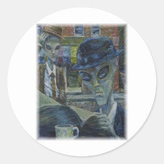 Gentlemen At Tea by David Barlow Classic Round Sticker