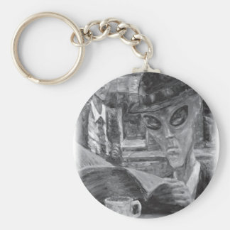 Gentlemen At Tea by David Barlow Keychain