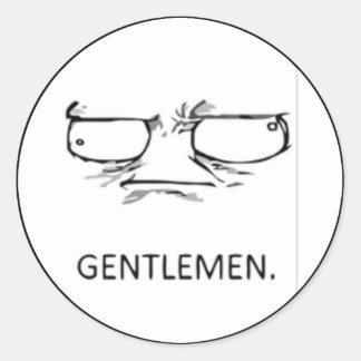 Gentlemen comic face classic round sticker