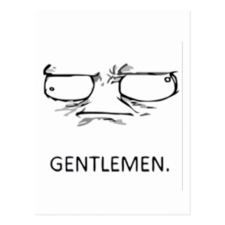 Gentlemen comic face postcard