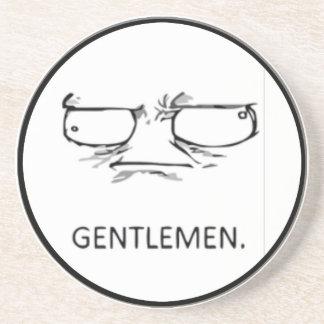 Gentlemen comic face sandstone coaster