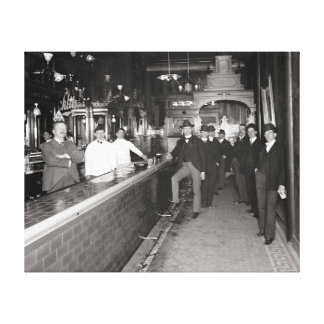 Gentlemen Drinking At The Bar, 1910 Canvas Print