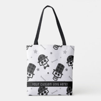 Gentlemen Plaid Skull and Bones Pattern Tote Bag