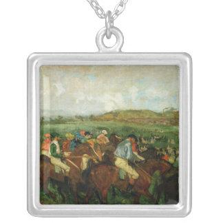 Gentlemen race. Before the Departure, 1862 Square Pendant Necklace