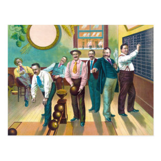 Gentlemen's Bowling League Postcard