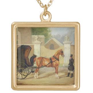 Gentlemen's Carriages: A Cabriolet, c.1820-30 (oil Square Pendant Necklace