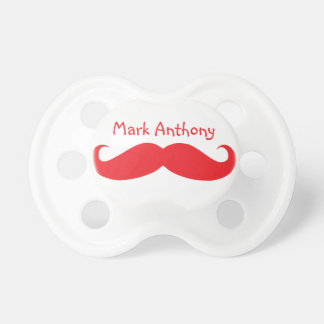Gentlemens Handlebar Mustache Pacifier (Red)