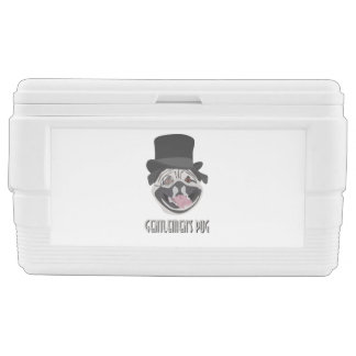 Gentlemen's Pug illustration happy smiling dog Chest Cooler