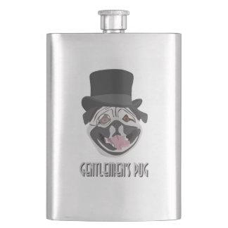 Gentlemen's Pug illustration happy smiling dog Flask