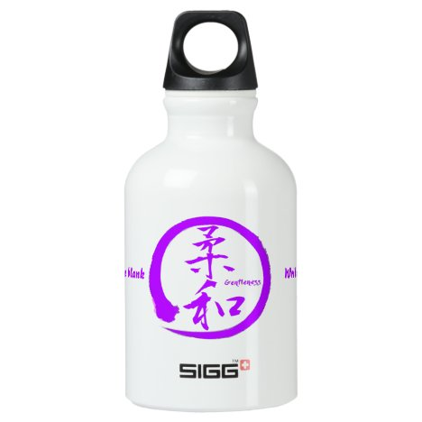 Gentleness kanji water bottle with purple enso