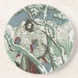 Gentoku que visita Komei en la nieve (1: 3) Posavasos Manualidades
