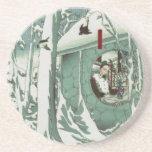 Gentoku que visita Komei en la nieve (3: 3) Posavasos Para Bebidas