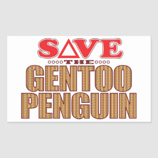 Gentoo Penguin Save Rectangular Sticker