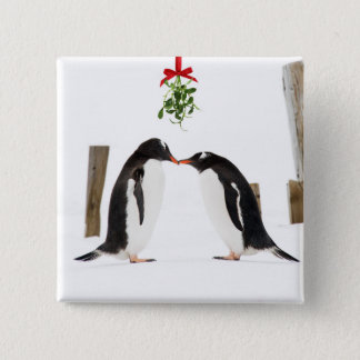 Gentoo Penguins Kissing - button