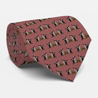 Gentoos and Holly Christmas Tie (Russet)
