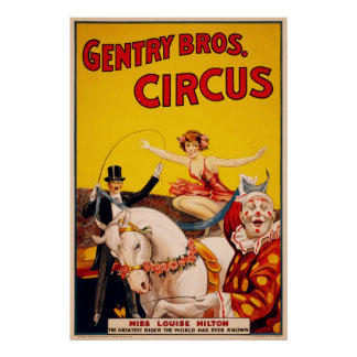 Gentry Bros Circus Poster ft Miss Louise Hilton