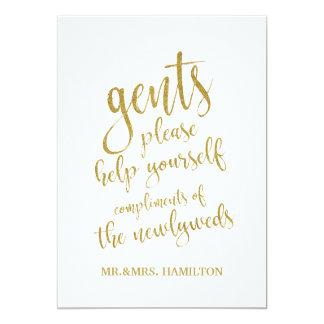 Gents Bathroom Basket Gold Affordable Wedding Sign Card
