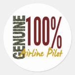 Genuine Airline Pilot Round Stickers