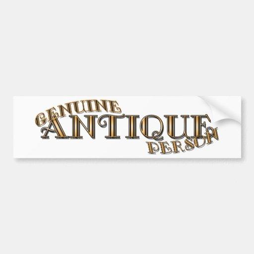 Genuine Antique Person Bumper Sticker