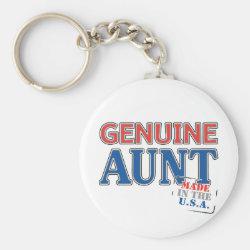 Basic Button Keychain with Genuine Aunt USA design