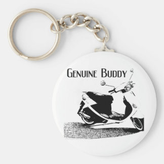 Genuine Buddy Black Basic Round Button Keychain