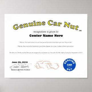 Genuine Car Nut Cert 1 Posters