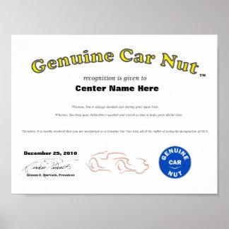 Genuine Car Nut Cert 2 Poster