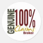 Genuine Claims Broker Round Sticker