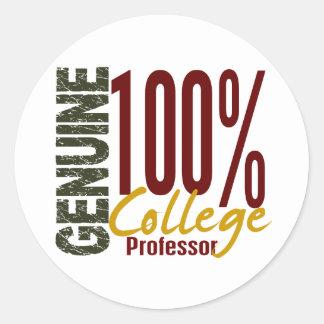 Genuine College Professor Classic Round Sticker
