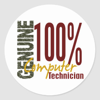 Genuine Computer Technician Classic Round Sticker