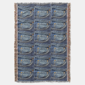 Genuine Denim Blue Jeans Pocket Throw Blanket