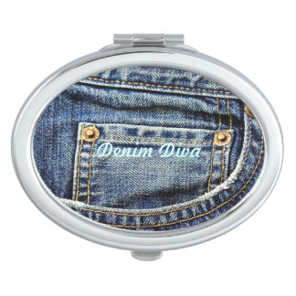 Genuine Denim Blue Jeans Pocket Vanity Mirror