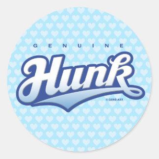 Genuine Hunk - sticker (blue/hearts)